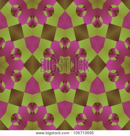 Olive green and light purple kaleidoscope seamless herbal pattern