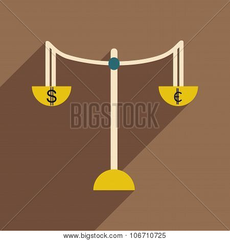 Flat with shadow icon Scales and money