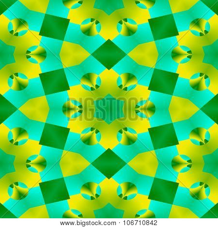 Blue green yellow ornamental kaleidoscope wallper