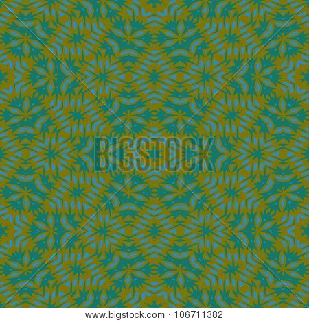 Stylized seamless green floral pattern in retro art deco style