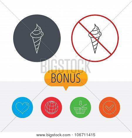 Ice cream icon. Sweet dessert in waffle cone.