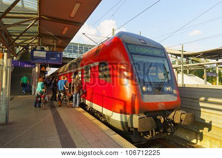 DUSSELDORF, GERMANY - SEPTEMBER 16, 2014: Dusseldorf Airport train station. Dusseldorf Airport is a railway station on the Cologne-Duisburg line