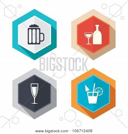 Alcoholic drinks signs. Champagne, beer icons.