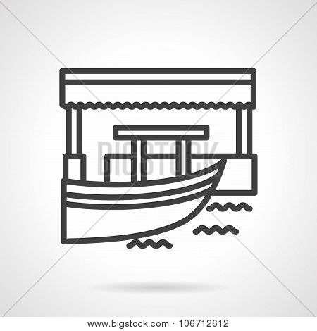 Floating market  simple line vector icon