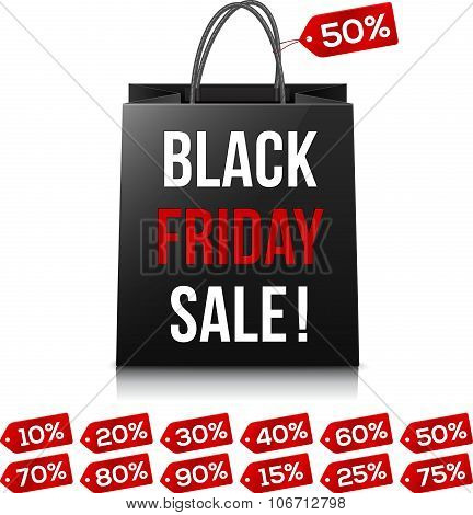 Shopping bag with Black Friday Sale sign and red sale percent tag