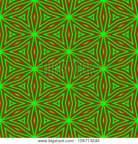 Abstract decorative floral seamless red green pattern