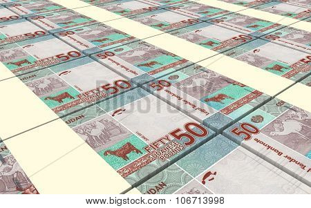 Sudanese pounds bills stacked background. Computer generated 3D photo rendering.