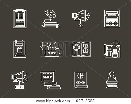 Simple white line accounting service vector icons