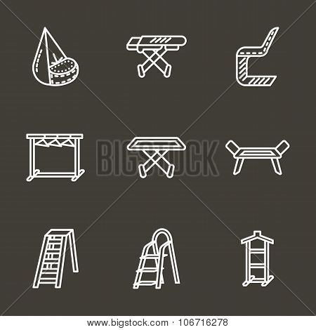 Simple line laundry furniture vector icons