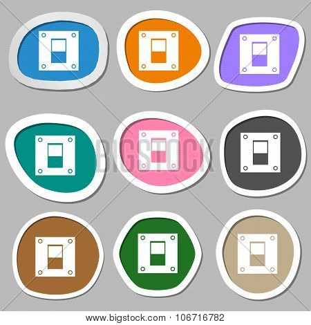 Power Switch Icon Sign. Multicolored Paper Stickers. Vector