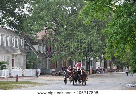Horse-drawn carriage rides in Williamsburg, Virginia
