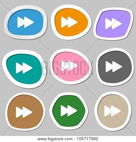 Rewind  Icon Symbols. Multicolored Paper Stickers. Vector