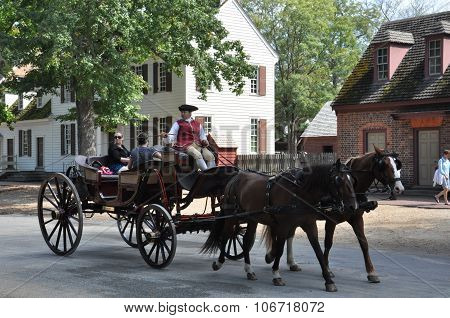 Horse-drawn carriage rides in Williamsburg, Virginia