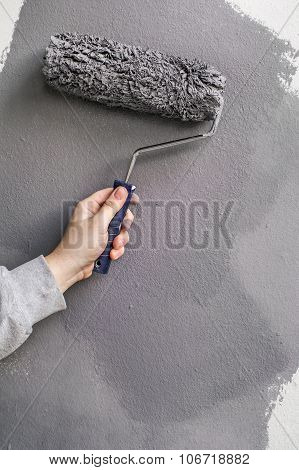 Gypsum Wall Painting With Paint Roller - Hand Applying