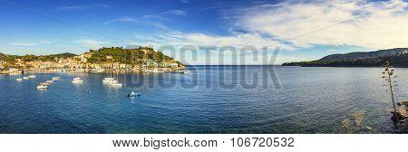 Elba Island, Porto Azzurro Village Bay Panoramic View. Tuscany, Italy.