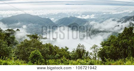 Mountain With Misty Fog In Thailand
