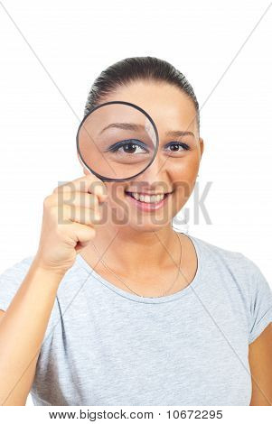 Woman Magnifying Eye