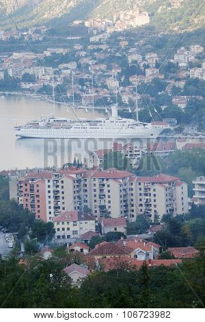 Landscape with the image of cruise liner in Kotor Bay, Montenegro