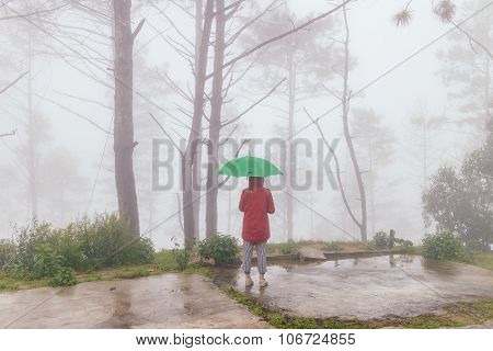 Woman Wear Red Coat Opened Green Umbrella Turn Back With Fog