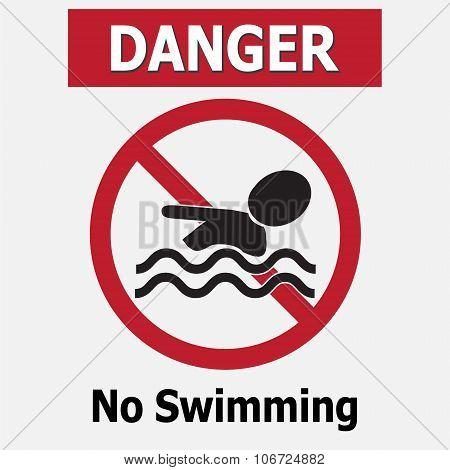 No Swimming Warning Signs