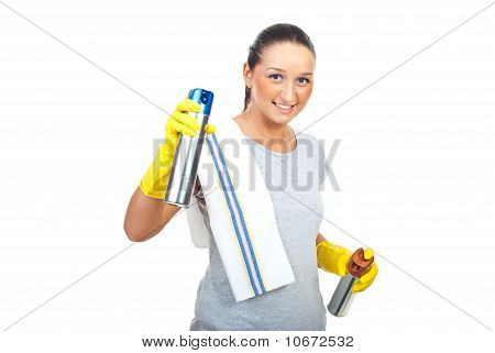 Cleaning Woman With Two Dust Spray