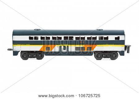 Toy passenger wagon isolated on white background