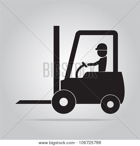 Man And Forklift Symbol Illustration