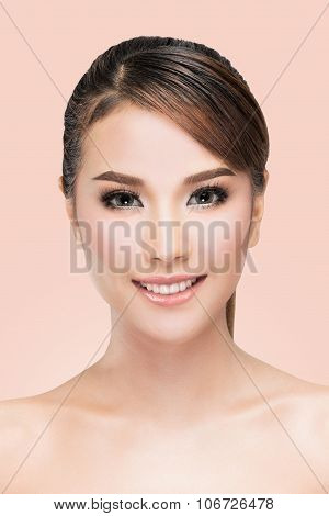 Beauty Asian Woman Face Portrait. Beautiful Spa Model Girl With Perfect Fresh Clean Skin.