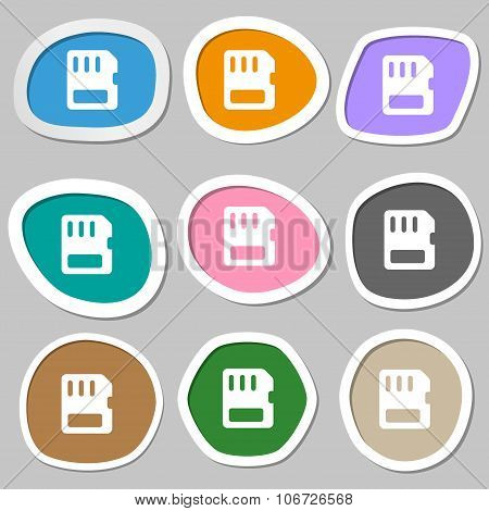Compact Memory Card  Icon Symbols. Multicolored Paper Stickers. Vector