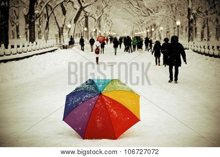 Umbrella and tourists in Central Park winter in midtown Manhattan New York City