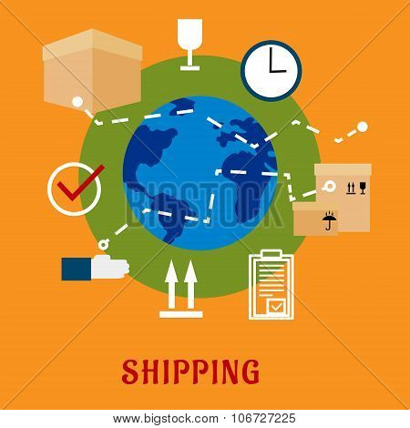 International shipping service flat icons