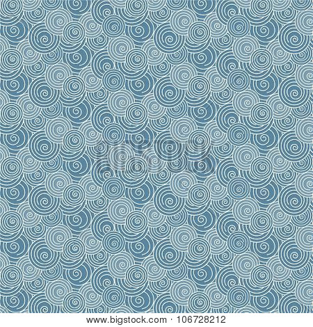 Seamless Swirl White And Blue Wave Japanese Pattern Background
