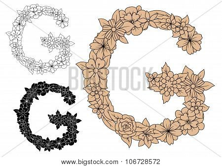 Floral capital letter G with blooming flowers