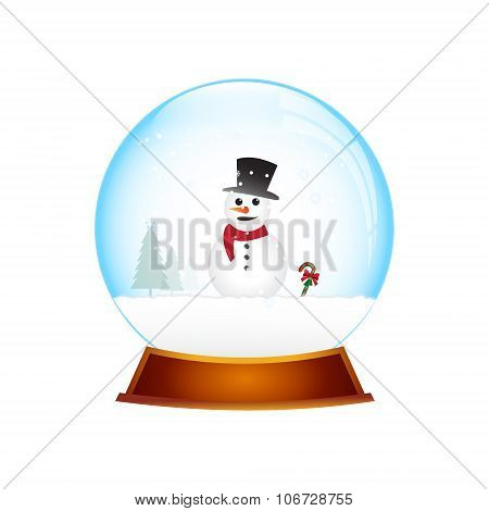 Christmas Snow Globe With Snowman