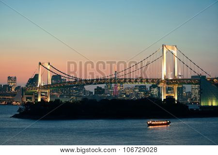 Tokyo bay with rainbow bridge and Tokyo Tower in Japan.