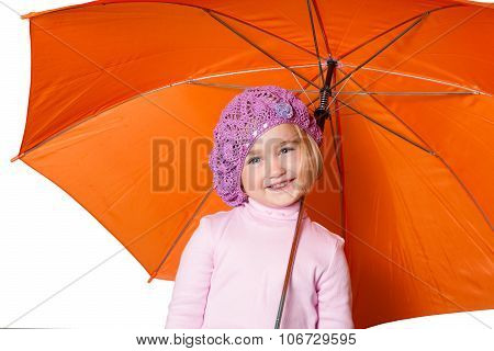 Little Cute Girl With An Umbrella Isolated On White Background