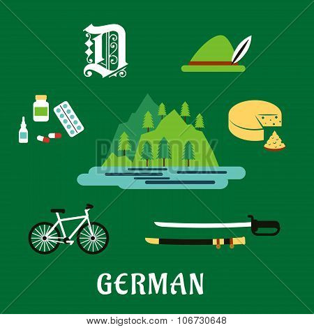 German culture and history flat icons