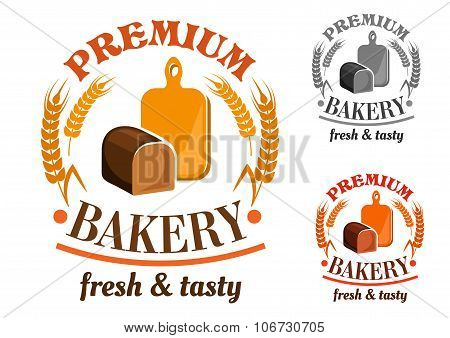 Bakery shop emblem with rye bread loaf
