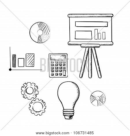 Flip chart, graphs, calculator, idea and gears