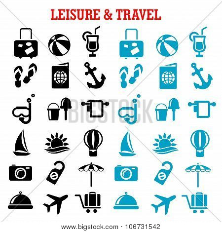 Travel and leisure flat icons set