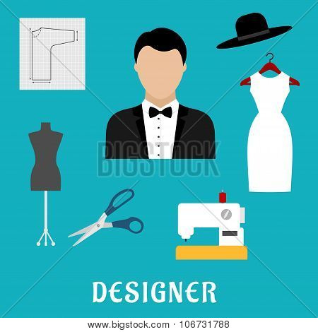 Fashion designer with sewing tools and clothing
