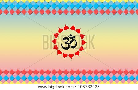Holy Ohm sign on Cool BG, Hindu Devotional