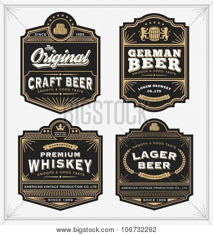 Vintage Frame Design For Labels, Banner, Sticker And Other Design. Suitable For Whiskey, Beer And Pr