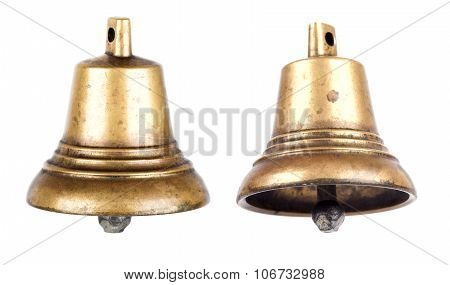 Bronze metal bell isolated on white background