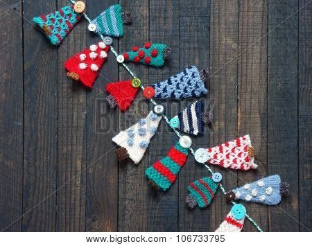 Handmade Ornament, Knitted Pine Tree, Christmas, Xmas