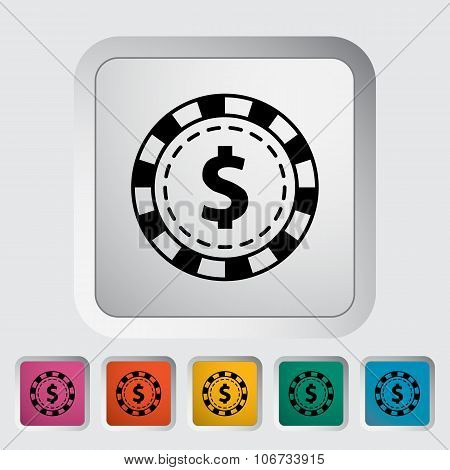 Gambling chips flat icon