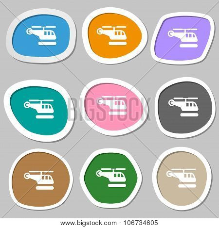 Helicopter Icon Symbols. Multicolored Paper Stickers. Vector