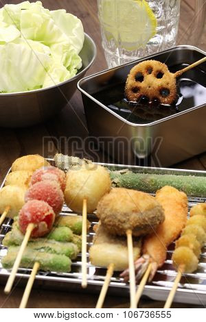 kushiage, kushikatsu, deep fried skewers, japanese food