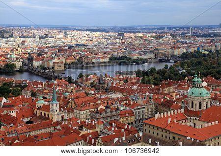Panorama Of Prague Old Town And Vltava River, Czech Republic.