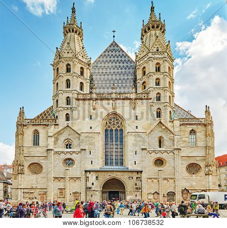 Vienna, Austria-september 10, 2015 : Facade Of St. Stephen's Cathedral (more Commonly Known By Its G